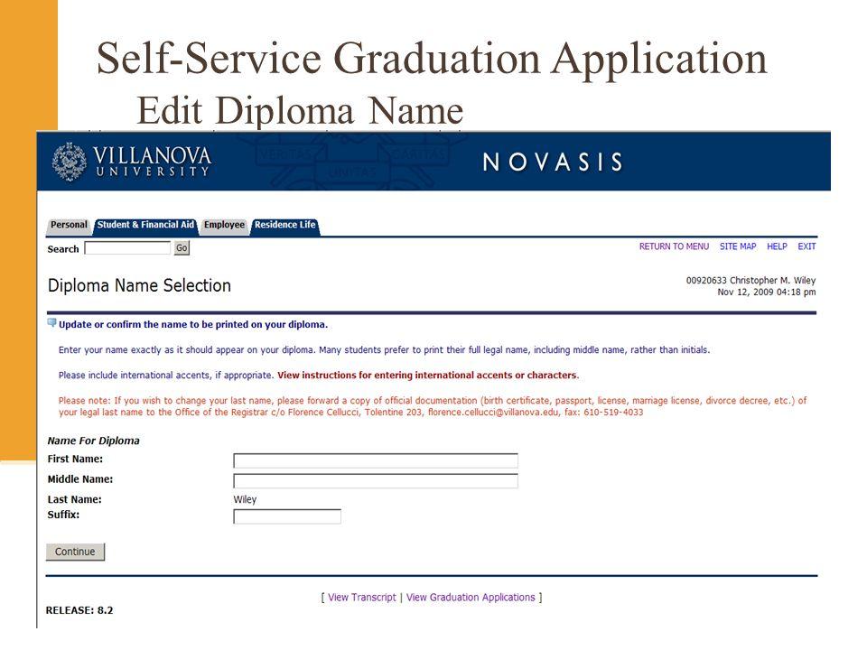Self-Service Graduation Application Edit Diploma Name