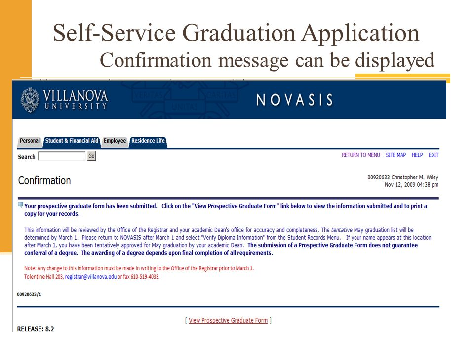 Self-Service Graduation Application Confirmation message can be displayed