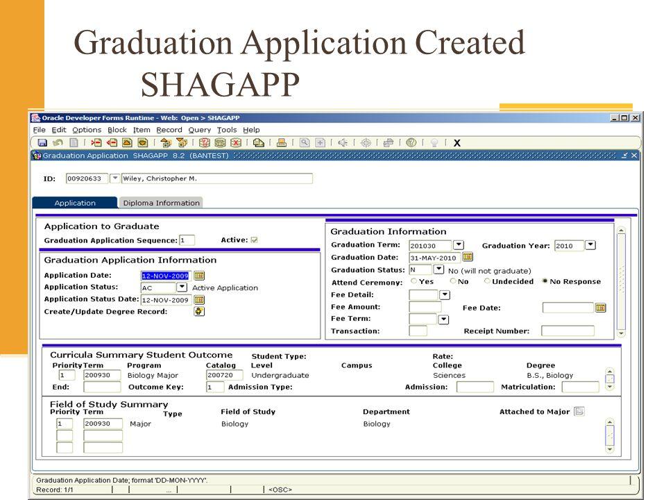 Graduation Application Created SHAGAPP