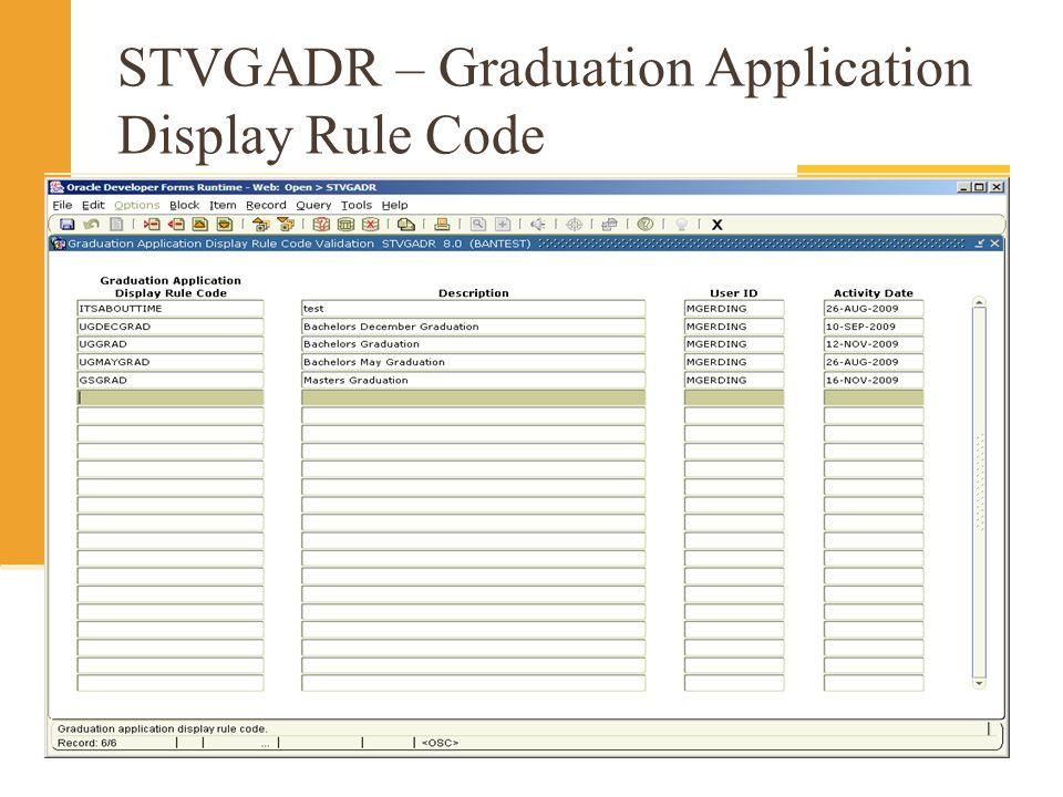 STVGADR – Graduation Application Display Rule Code
