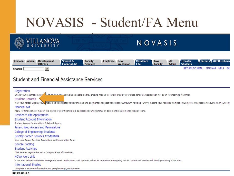 NOVASIS - Student/FA Menu