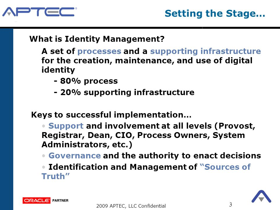 2009 APTEC, LLC Confidential 3 Setting the Stage… What is Identity Management? A set of processes and a supporting infrastructure for the creation, ma