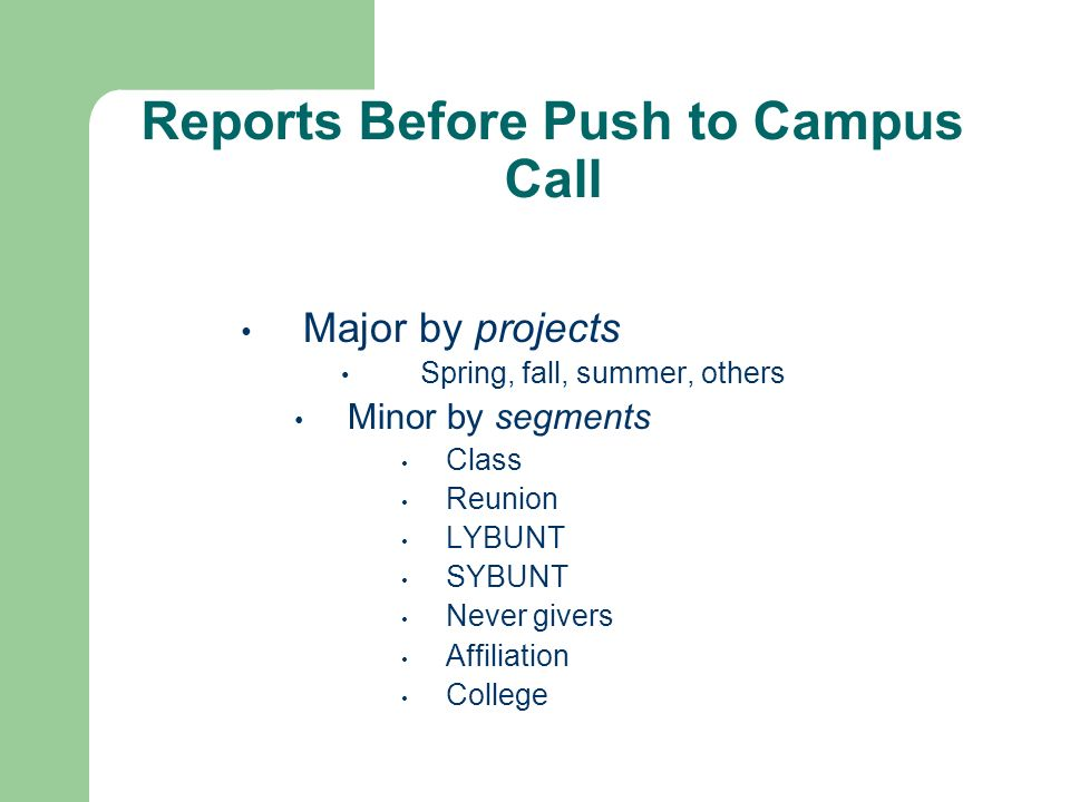 Reports Before Push to Campus Call Major by projects Spring, fall, summer, others Minor by segments Class Reunion LYBUNT SYBUNT Never givers Affiliation College