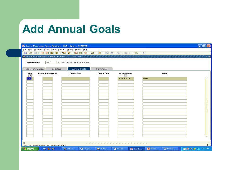 Add Annual Goals