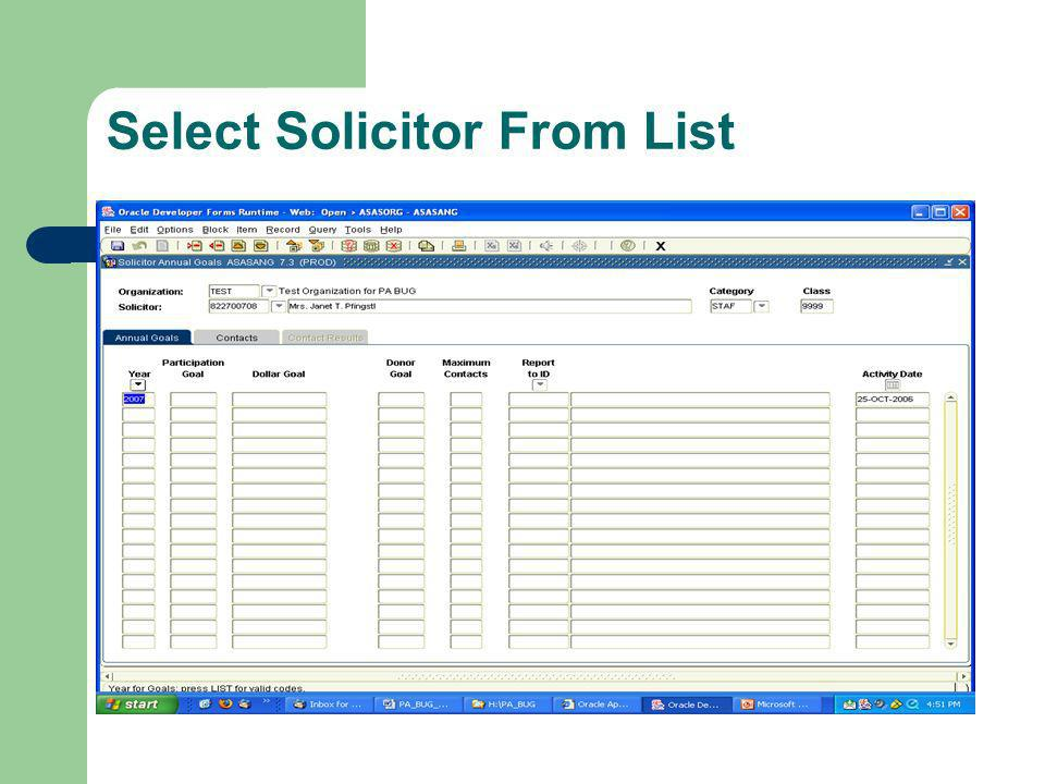 Select Solicitor From List