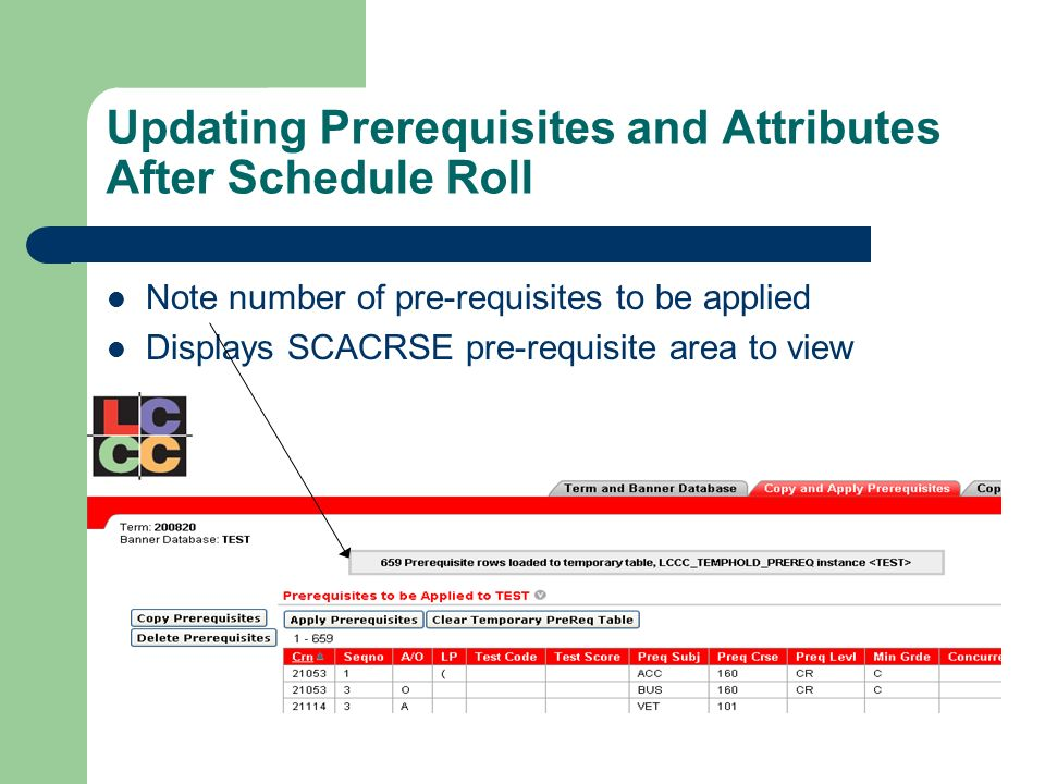 Updating Prerequisites and Attributes After Schedule Roll Note number of pre-requisites to be applied Displays SCACRSE pre-requisite area to view