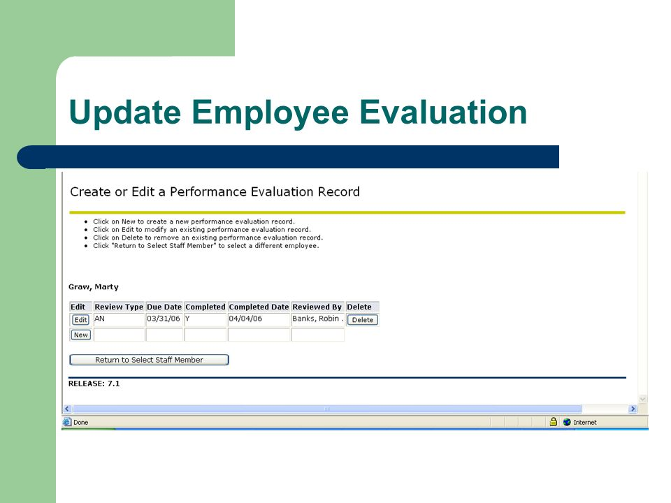 Update Employee Evaluation