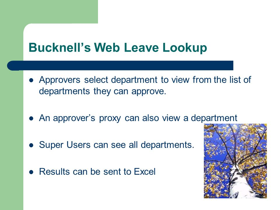 Bucknells Web Leave Lookup Approvers select department to view from the list of departments they can approve.