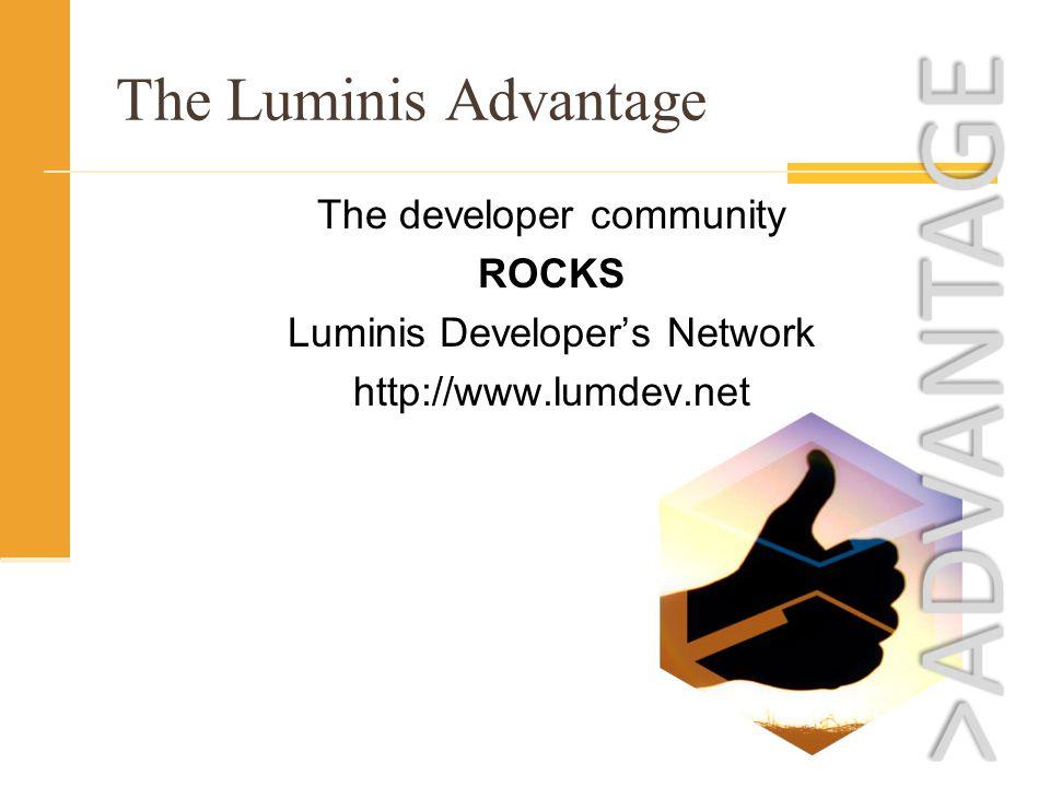 The Luminis Advantage The developer community ROCKS Luminis Developers Network http://www.lumdev.net