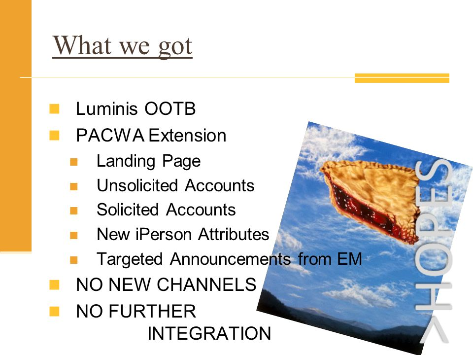 What we got Luminis OOTB PACWA Extension Landing Page Unsolicited Accounts Solicited Accounts New iPerson Attributes Targeted Announcements from EM NO NEW CHANNELS NO FURTHER INTEGRATION