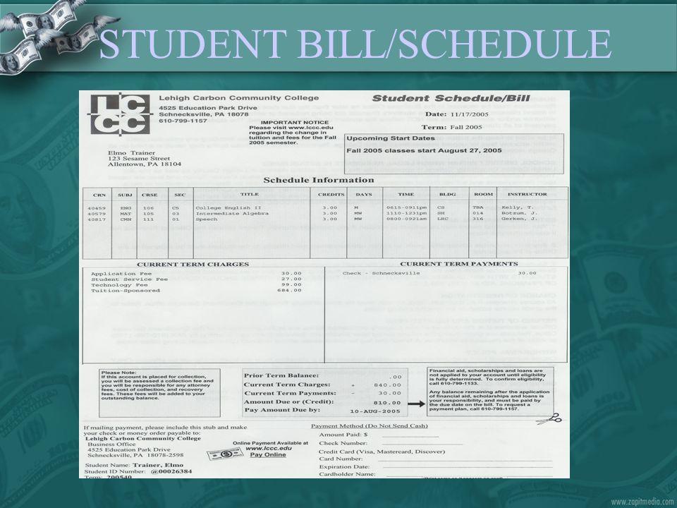 STUDENT BILL/SCHEDULE