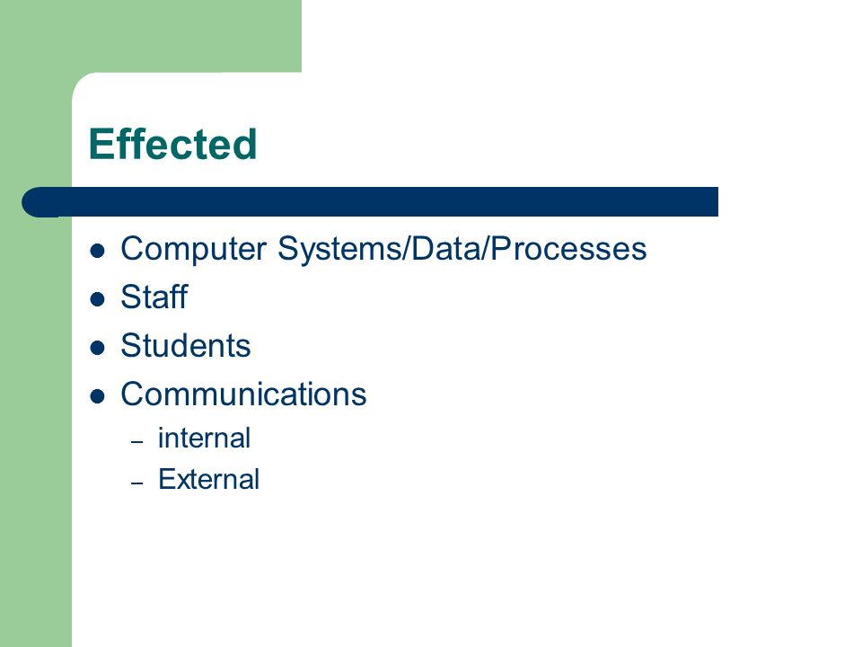 Effected Computer Systems/Data/Processes Staff Students Communications – internal – External