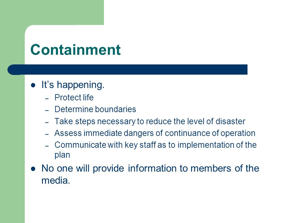 Containment Its happening.