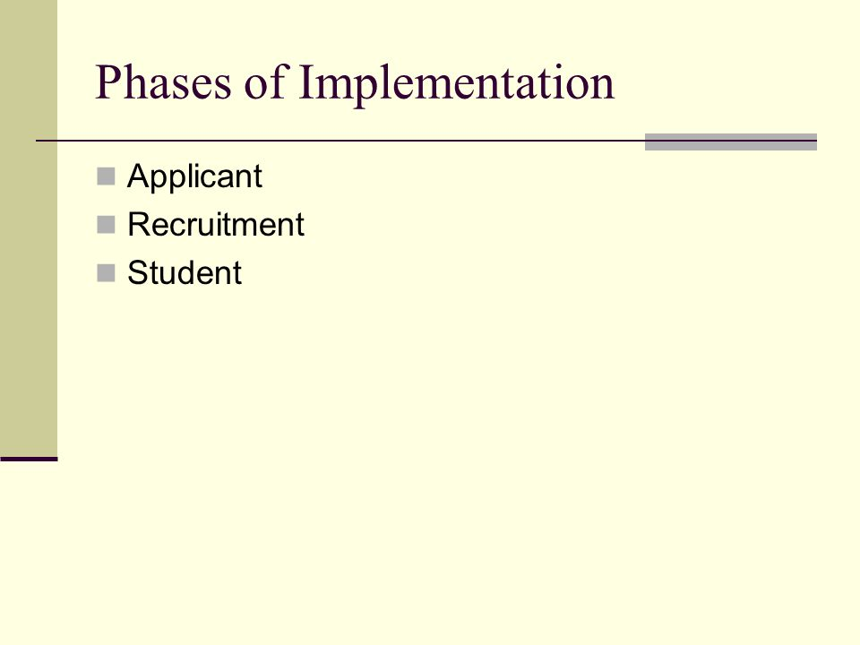 Phases of Implementation Applicant Recruitment Student