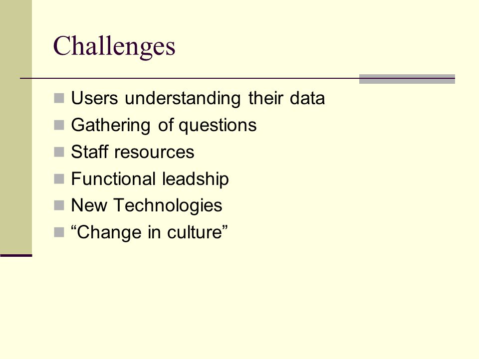 Challenges Users understanding their data Gathering of questions Staff resources Functional leadship New Technologies Change in culture