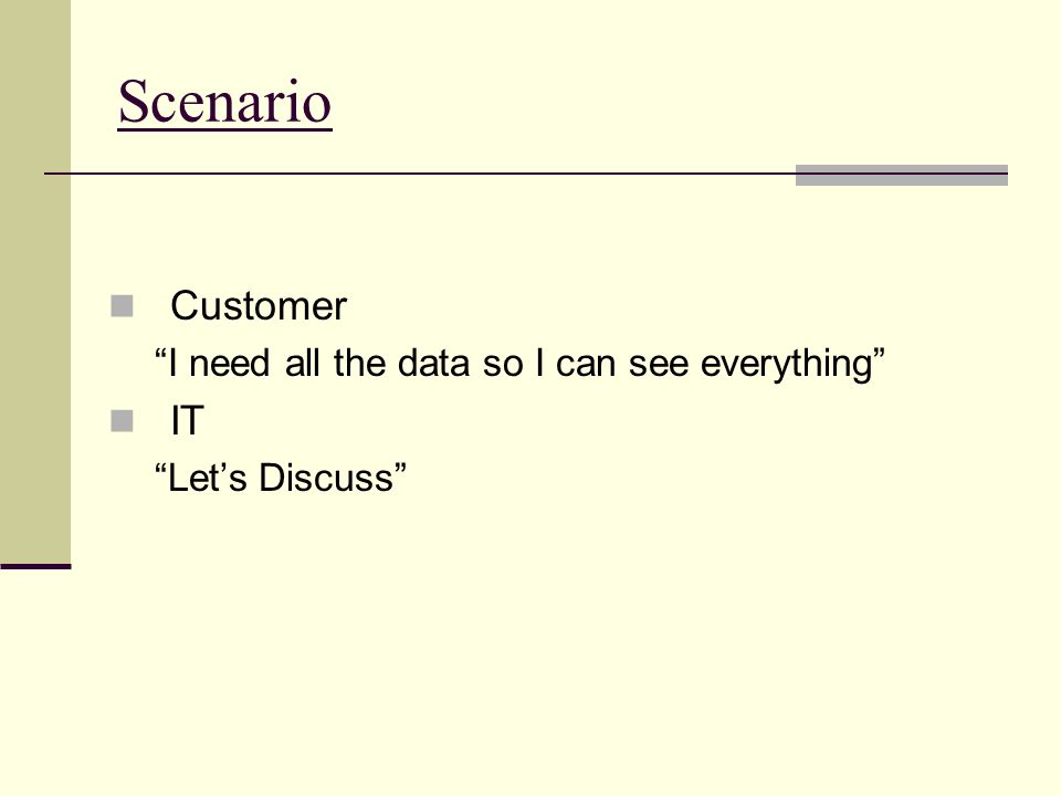 Scenario Customer I need all the data so I can see everything IT Lets Discuss