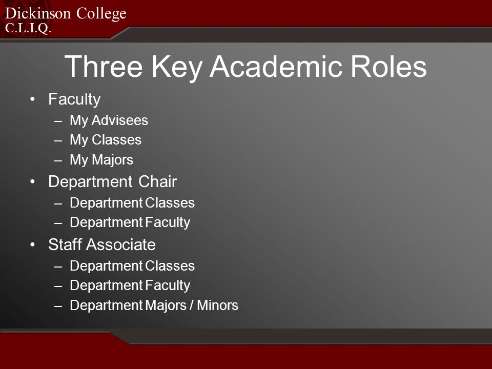 C.L.I.Q. Dickinson College Faculty –My Advisees –My Classes –My Majors Department Chair –Department Classes –Department Faculty Staff Associate –Depar