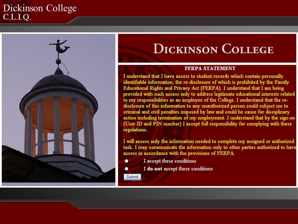 C.L.I.Q. Dickinson College Student Profile
