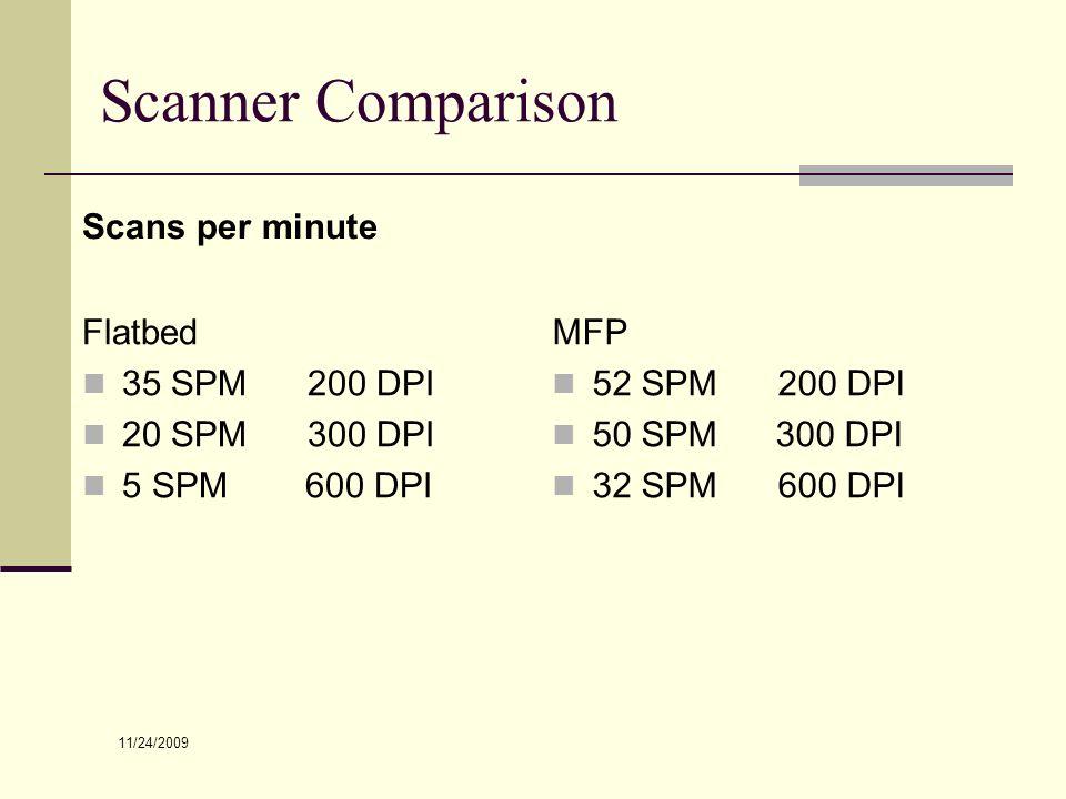 Scanner Comparison Scans per minute Flatbed 35 SPM 200 DPI 20 SPM 300 DPI 5 SPM 600 DPI MFP 52 SPM 200 DPI 50 SPM 300 DPI 32 SPM 600 DPI 11/24/2009