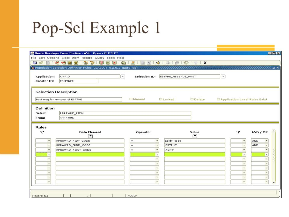 General SQL Tips Be sure you are typing the name of the table, not the form, when you are entering your SQL (RPRAWRD – not RPAAWRD) Know your data!