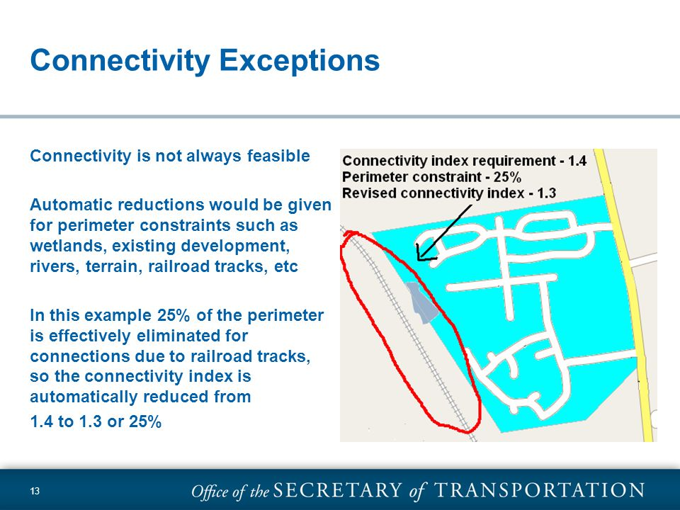 13 Connectivity Exceptions Connectivity is not always feasible Automatic reductions would be given for perimeter constraints such as wetlands, existin