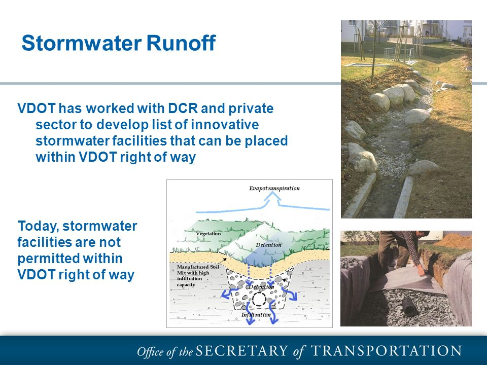 Stormwater Runoff VDOT has worked with DCR and private sector to develop list of innovative stormwater facilities that can be placed within VDOT right