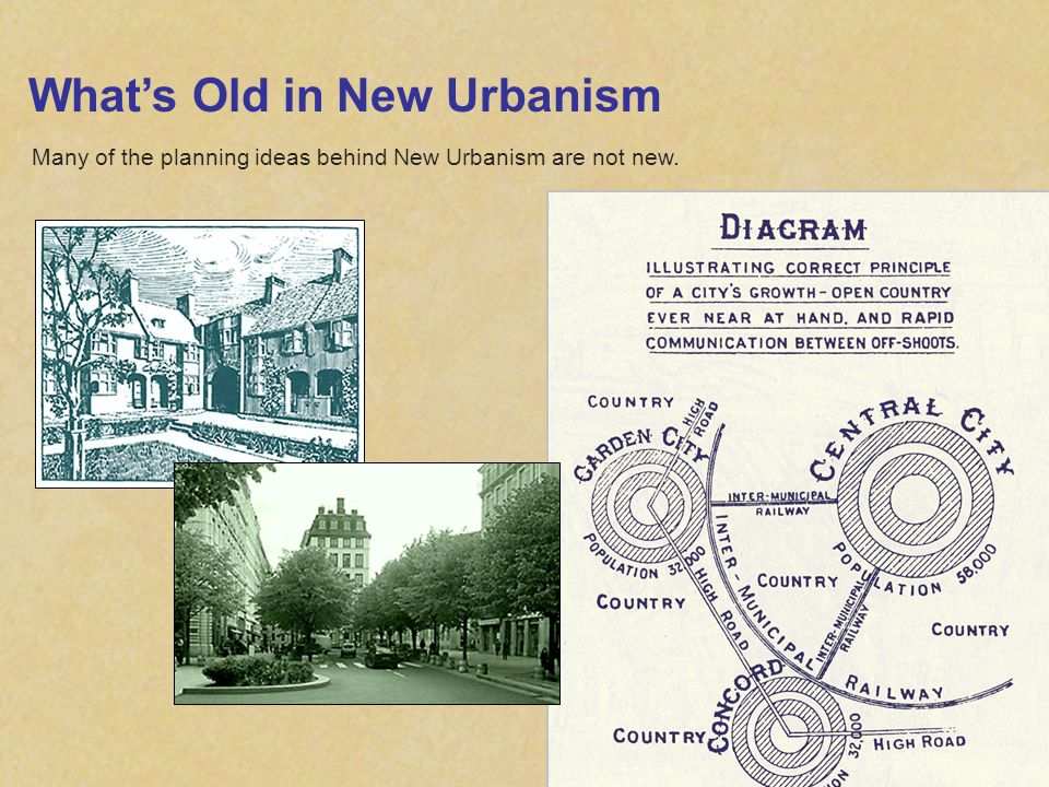 Whats Old in New Urbanism Many of the planning ideas behind New Urbanism are not new.