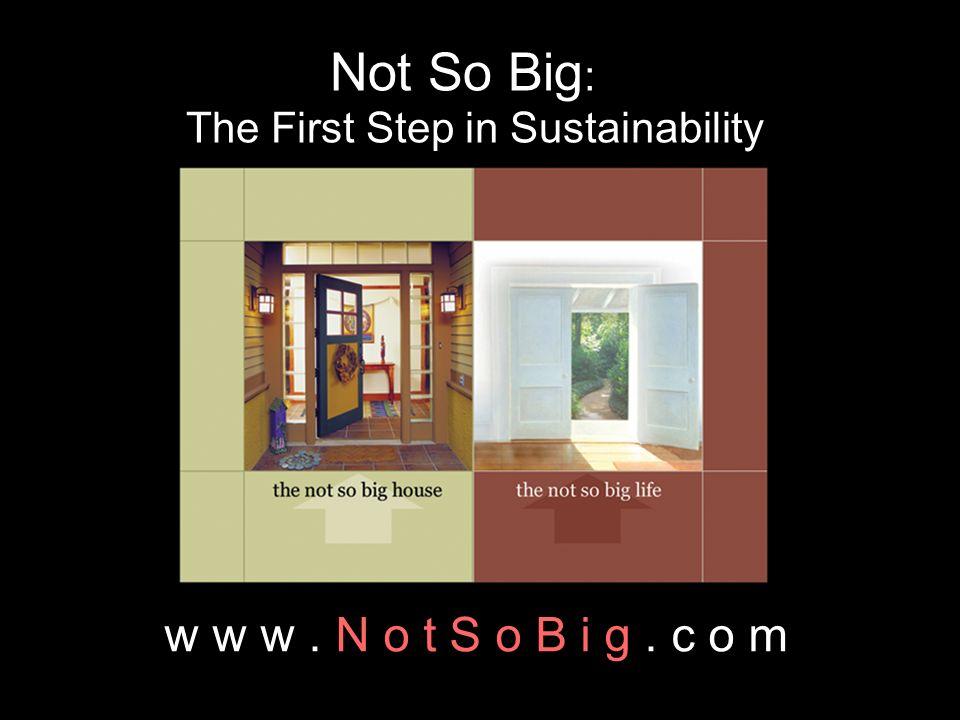 Not So Big : The First Step in Sustainability w w w. N o t S o B i g. c o m
