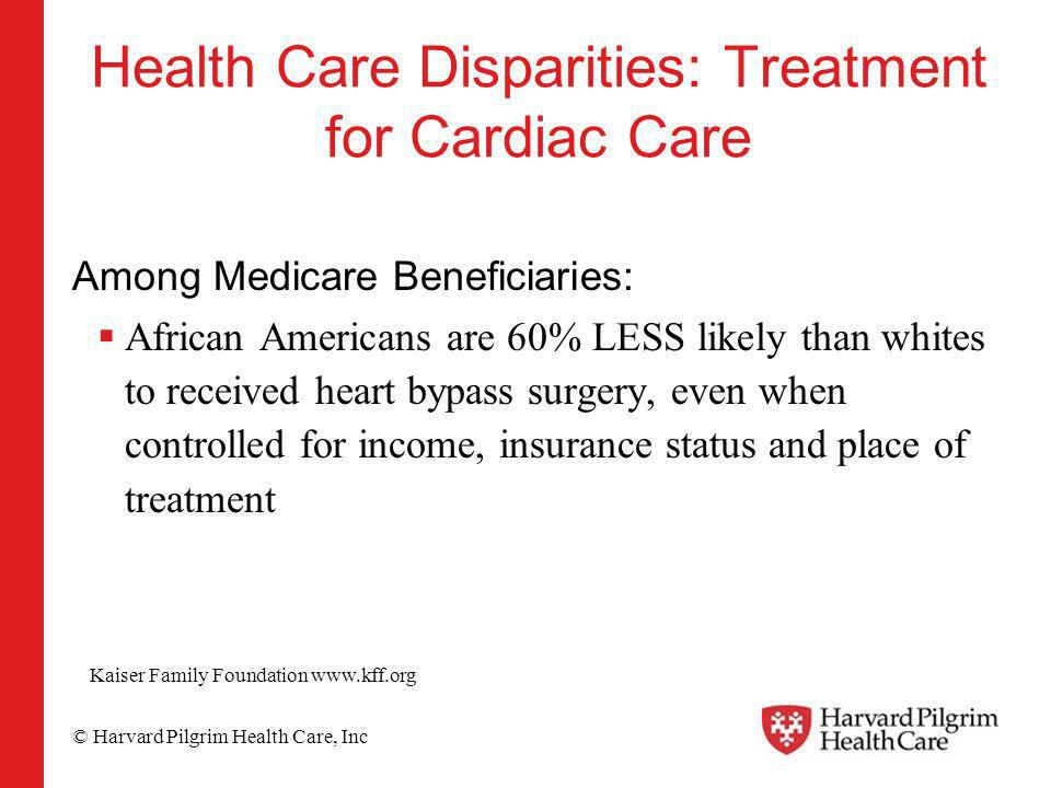 © Harvard Pilgrim Health Care, Inc Health Care Disparities: Treatment for Cardiac Care Among Medicare Beneficiaries: African Americans are 60% LESS li