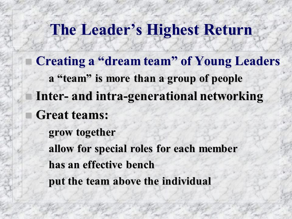 The Leaders Highest Return n Creating a dream team of Young Leaders – a team is more than a group of people n Inter- and intra-generational networking n Great teams: – grow together – allow for special roles for each member – has an effective bench – put the team above the individual