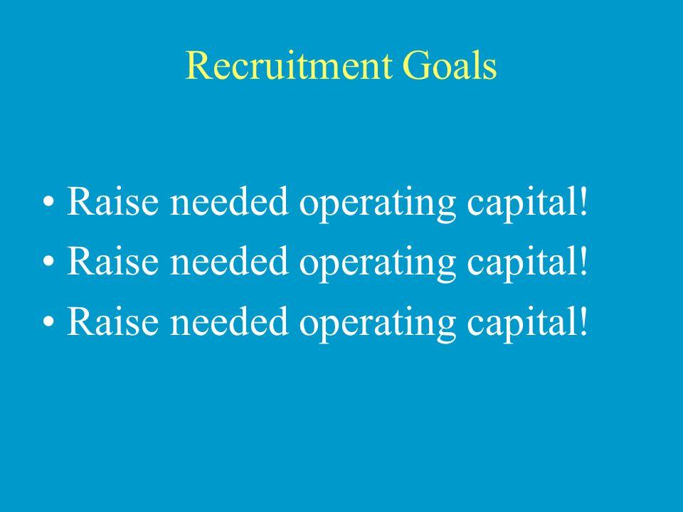 Recruitment Goals Raise needed operating capital. Raise needed operating capital.