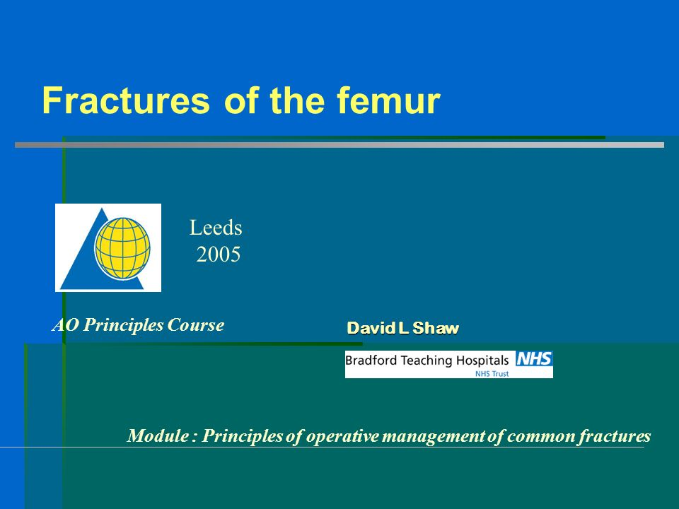Fractures of the femur AO Principles Course Leeds 2005 Module : Principles of operative management of common fractures David L Shaw