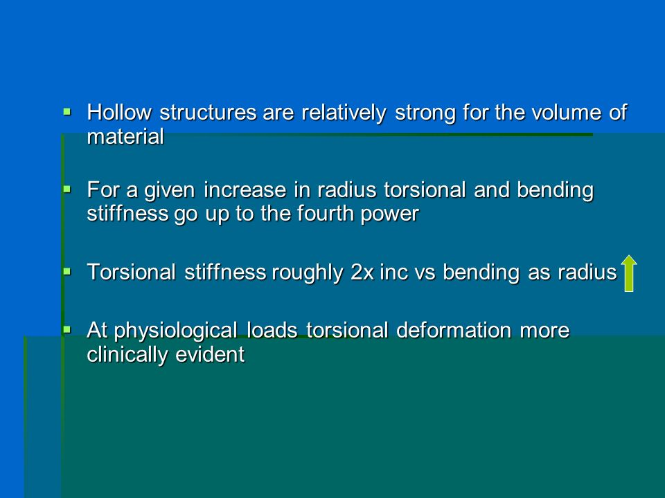 Hollow structures are relatively strong for the volume of material Hollow structures are relatively strong for the volume of material For a given incr