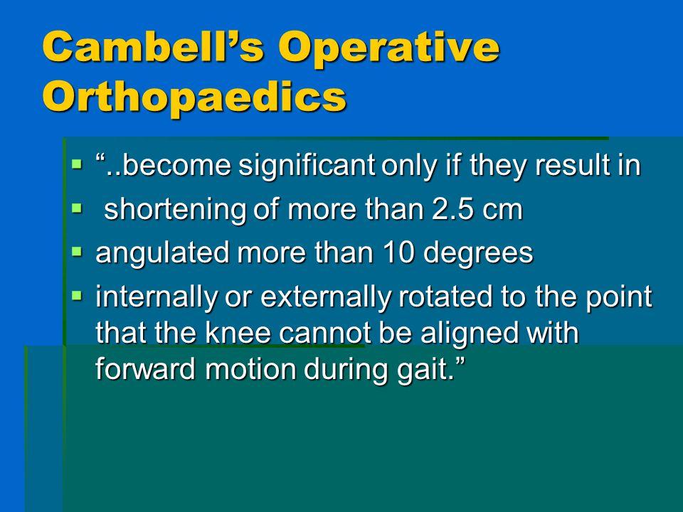 Cambells Operative Orthopaedics..become significant only if they result in..become significant only if they result in shortening of more than 2.5 cm s