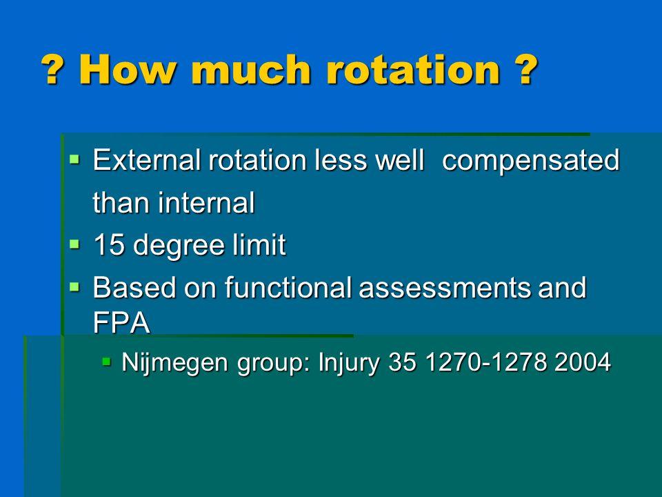 ? How much rotation ? External rotation less well compensated External rotation less well compensated than internal 15 degree limit 15 degree limit Ba