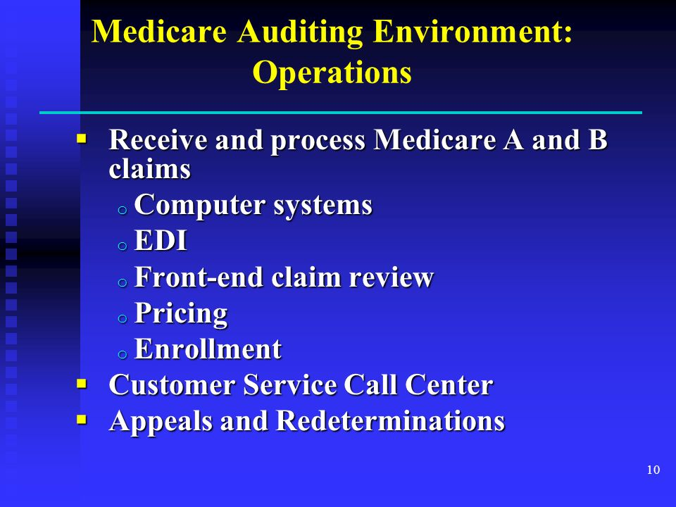 Medicare Auditing Environment: Operations Receive and process Medicare A and B claims Receive and process Medicare A and B claims o Computer systems o EDI o Front-end claim review o Pricing o Enrollment Customer Service Call Center Customer Service Call Center Appeals and Redeterminations Appeals and Redeterminations 10