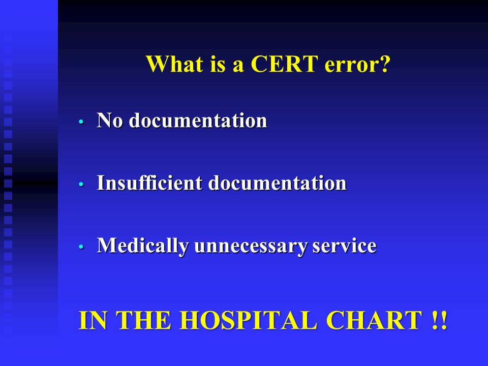 What is a CERT error? No documentation No documentation Insufficient documentation Insufficient documentation Medically unnecessary service Medically