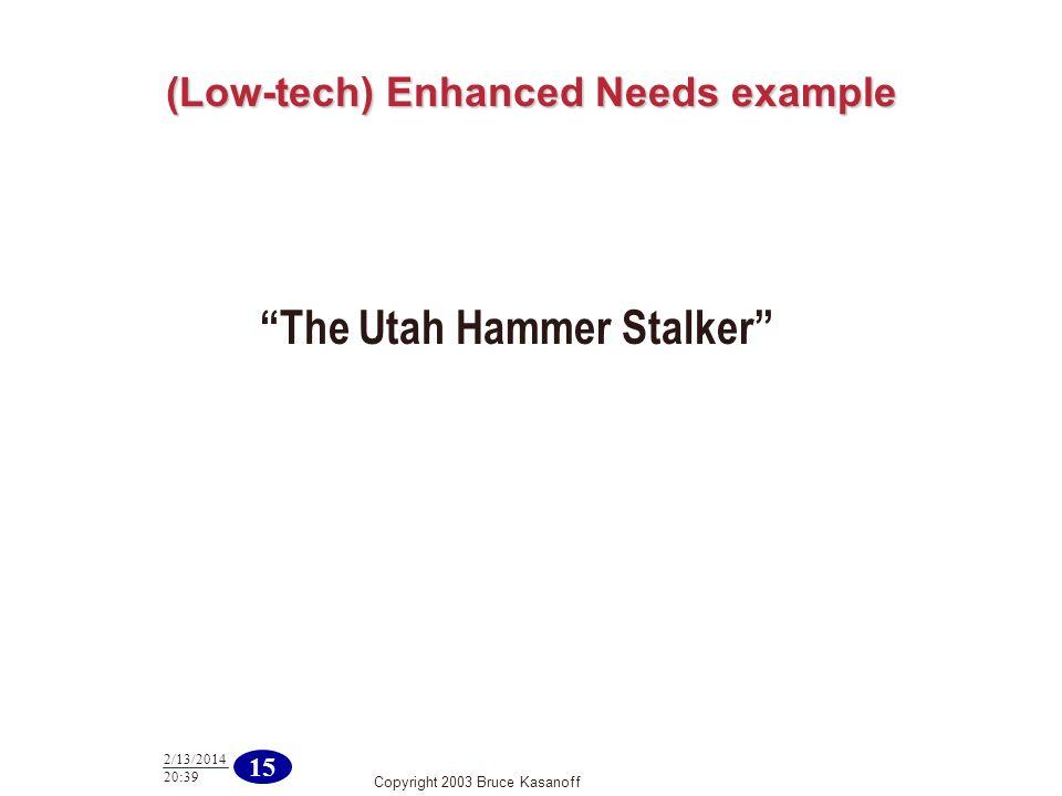 Copyright 2003 Bruce Kasanoff 15 2/13/2014 20:40 (Low-tech) Enhanced Needs example The Utah Hammer Stalker