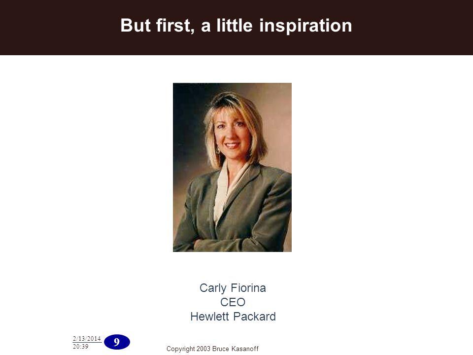 Copyright 2003 Bruce Kasanoff 9 2/13/2014 20:40 Carly Fiorina CEO Hewlett Packard But first, a little inspiration