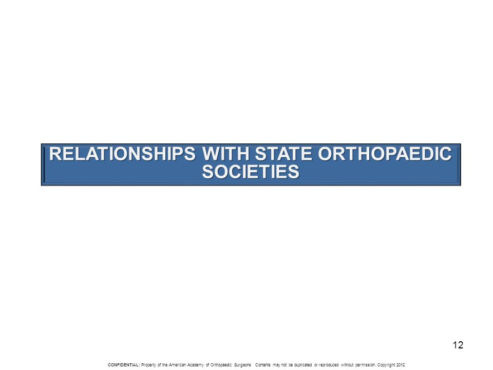 CONFIDENTIAL: Property of the American Academy of Orthopaedic Surgeons Contents may not be duplicated or reproduced without permission.