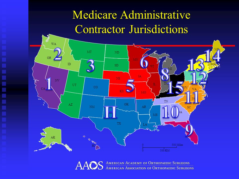 AK & HI not to scale Medicare Administrative Contractor Jurisdictions