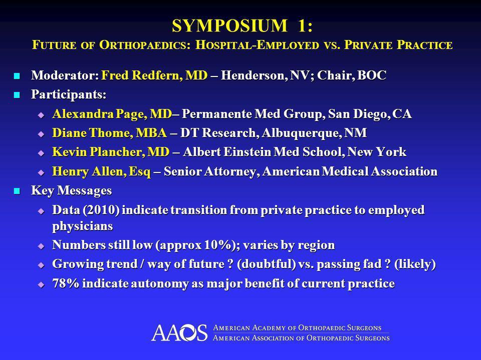 SYMPOSIUM 1: F UTURE OF O RTHOPAEDICS : H OSPITAL -E MPLOYED VS.