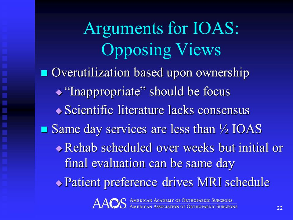 Arguments for IOAS: Opposing Views Overutilization based upon ownership Overutilization based upon ownership Inappropriate should be focus Inappropria