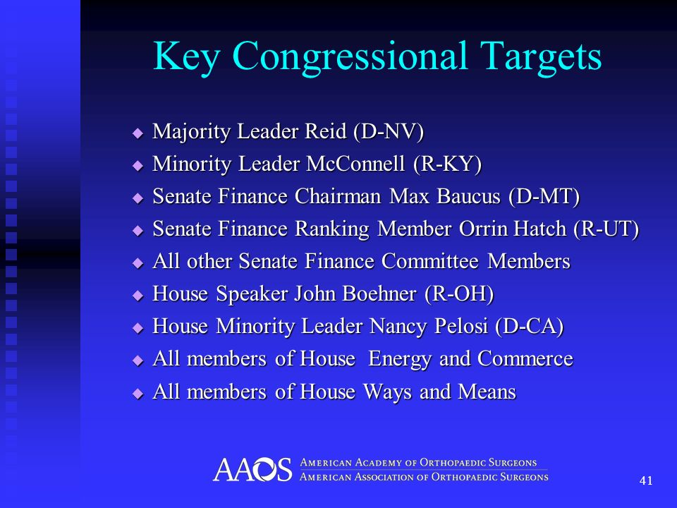 Key Congressional Targets Majority Leader Reid (D-NV) Majority Leader Reid (D-NV) Minority Leader McConnell (R-KY) Minority Leader McConnell (R-KY) Senate Finance Chairman Max Baucus (D-MT) Senate Finance Chairman Max Baucus (D-MT) Senate Finance Ranking Member Orrin Hatch (R-UT) Senate Finance Ranking Member Orrin Hatch (R-UT) All other Senate Finance Committee Members All other Senate Finance Committee Members House Speaker John Boehner (R-OH) House Speaker John Boehner (R-OH) House Minority Leader Nancy Pelosi (D-CA) House Minority Leader Nancy Pelosi (D-CA) All members of House Energy and Commerce All members of House Energy and Commerce All members of House Ways and Means All members of House Ways and Means 41