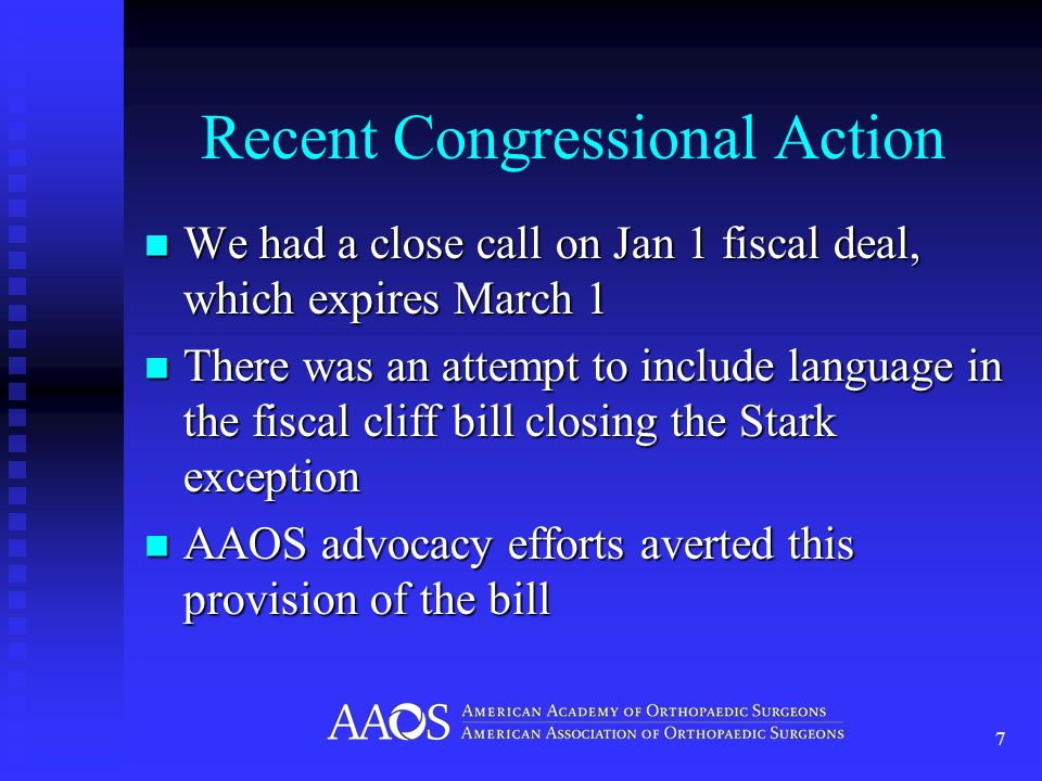 Recent Congressional Action We had a close call on Jan 1 fiscal deal, which expires March 1 We had a close call on Jan 1 fiscal deal, which expires Ma