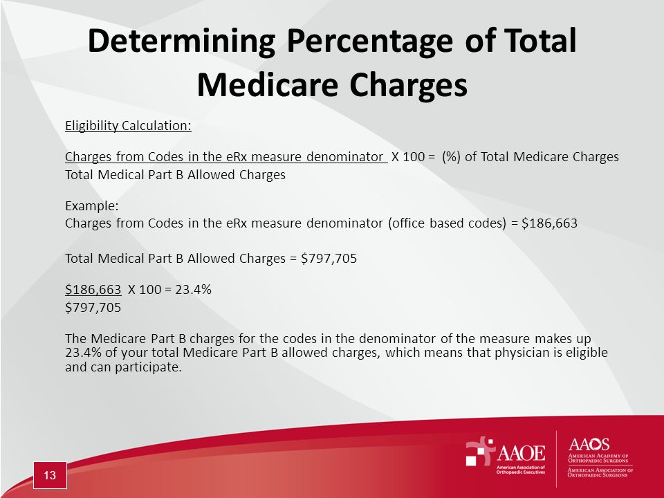 Determining Percentage of Total Medicare Charges Eligibility Calculation: Charges from Codes in the eRx measure denominator X 100 = (%) of Total Medicare Charges Total Medical Part B Allowed Charges Example: Charges from Codes in the eRx measure denominator (office based codes) = $186,663 Total Medical Part B Allowed Charges = $797,705 $186,663 X 100 = 23.4% $797,705 The Medicare Part B charges for the codes in the denominator of the measure makes up 23.4% of your total Medicare Part B allowed charges, which means that physician is eligible and can participate.