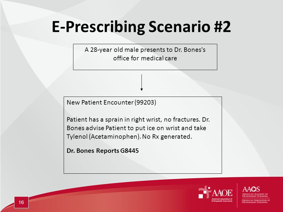 E-Prescribing Scenario #2 A 28-year old male presents to Dr.