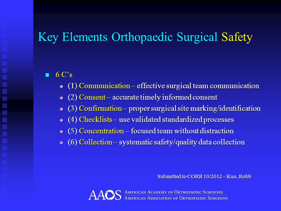 Key Elements Orthopaedic Surgical Safety 6 Cs 6 Cs (1) Communication – effective surgical team communication (1) Communication – effective surgical te