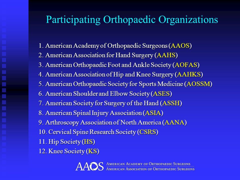 Participating Orthopaedic Organizations 1. American Academy of Orthopaedic Surgeons (AAOS) 2. American Association for Hand Surgery (AAHS) 3. American