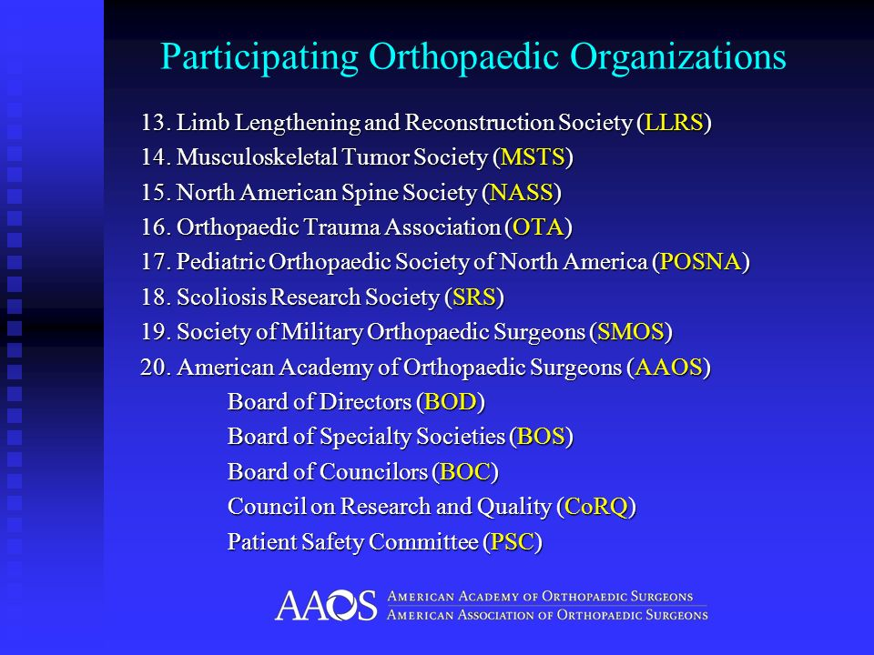 Participating Orthopaedic Organizations 13. Limb Lengthening and Reconstruction Society (LLRS) 14. Musculoskeletal Tumor Society (MSTS) 15. North Amer